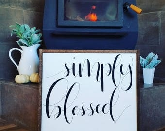 Simply blessed wood sign.