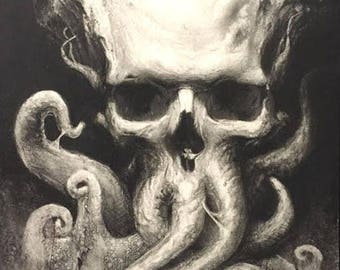 Tentacle Skull-  Original Artwork Prints