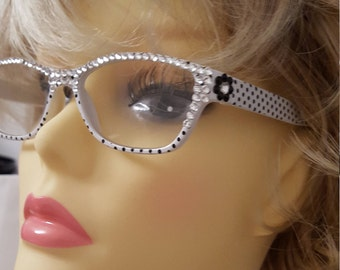 Glamour Swarovski adorned reading glasses - Pretty White Polka Dot with Case