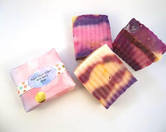 Colorful Soap, Berry Soap, Scented Soap, Bar of Soap, Soap Gift, Handcrafted Soap, Artisan Soap, Home Therapy,  Exfoliating, Moisturizing