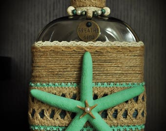 Turquoise Beach Themed Decorative Bottle