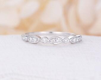 Vintage Wedding Band Women White Gold Art Deco Bridal Jewelry Half Eternity Stacking Antique Promise Matching