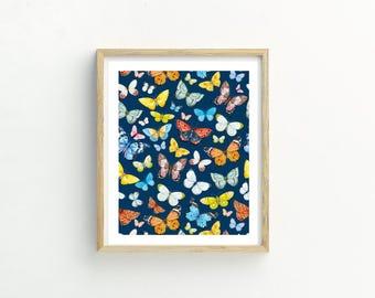 Butterfly Pattern Print | Butterfly Print | Butterfly Picture | Butterfly Wall Art | Butterfly Watercolor | Butterfly Watercolour | Art
