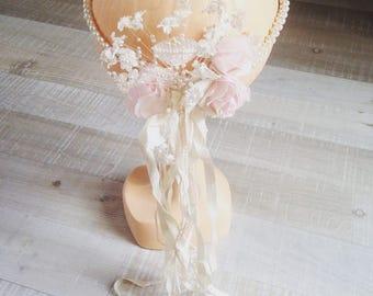 Headband headband headpiece tiara vintage Pearl flower and Ribbon