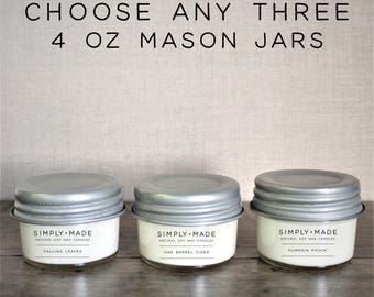 Soy Candles Bundle Deal // Choose Any Three // 4 oz Mason Jar Candles // Scented Candles // Modern Farmhouse Decor