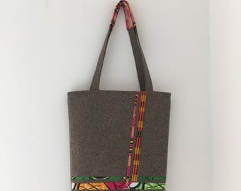 Reversible Tote Bag in Ankara & Felt - #2