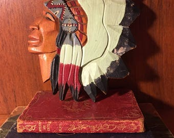 Wood Carved and Painted Native American Indian Head Wall Hanging
