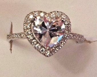 White Sapphire Promise Ring, Sterling Silver, 1 ct. Size - 7