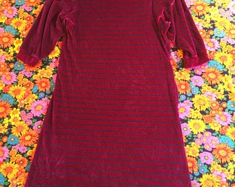 Vintage Velour Purple and Blue Striped Jordache Three Quarter Puff Sleeves 1980s Dress