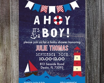 AHOY Baby Boy Shower Invitation