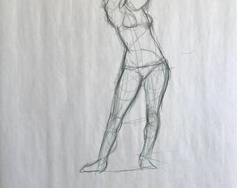 """Figure Drawing - Female in Bikini 18""""x24"""""""