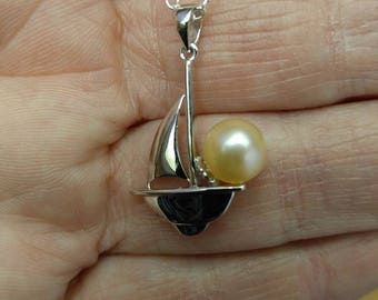 925 sterling silver sail boat pearl pendant necklace