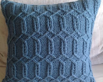 Hand knitted wedgewood blue trellis pattern Aran cushion cover