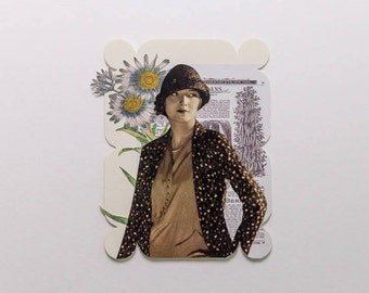 woman with yellow/blue/white flowers, original paper collage