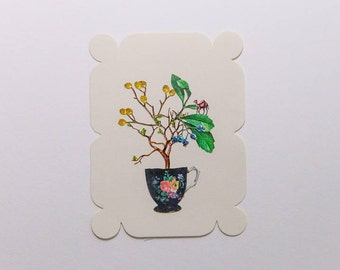 teacup with plants and camel, original paper collage