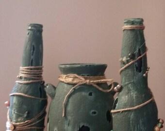 Green set /distress jars-bottles/ twine decorated/gift