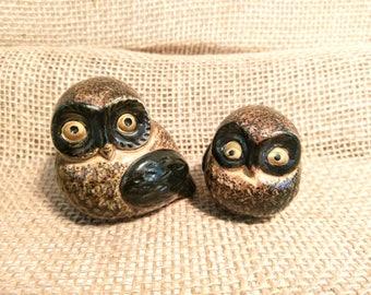 Vintage Pair of Small Ceramic Owl Statues / Knick Knacks / Owl Figurines