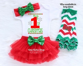 My First Christmas Baby Girl Christmas Outfit Babies First