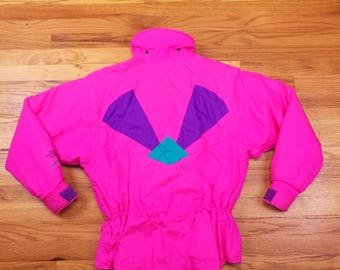Vintage 80s Rare North Face Extreme Neon Hot Pink Coat Ski Jacket Size Medium M