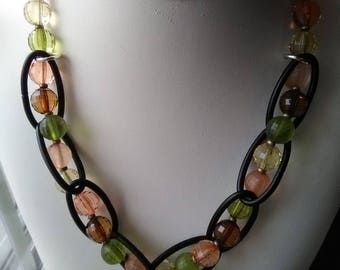 Multi-colored Beads and Chain Necklace
