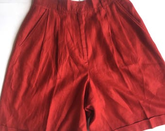 Vintage 90s Valerie Stevens Pure Linen Red High-Waisted Mom Shorts. Size 8