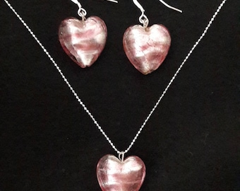 Murano Heart Necklace and earrings