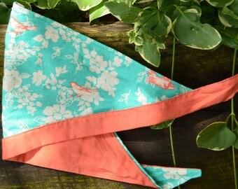 SUMMER CLEARANCE****Dog BANDANA//Bird Frenzy Hanky Collection - Dog Bandana - Neckwear - Dogs/Cats - Teal & Orange - Handmade