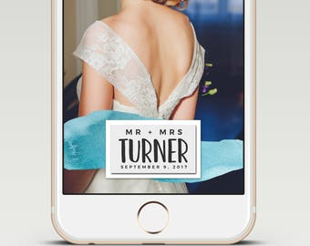 Blue Watercolor Handwritten Calligraphy Custom Snapchat Wedding GeoFilter