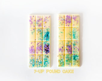 7-Up Pound Cake Wax Melts (2.7 Oz.) - Bakery Scented Wax Melts - Hand Poured Wax Melts - Glitter Wax Melts - Wax Melt Bars - Scented Wax