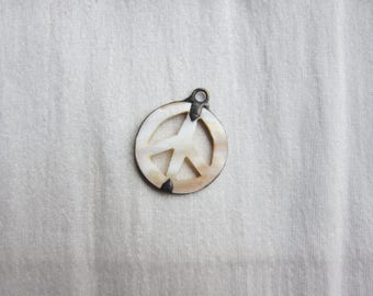 Hand Soldered Shell Peace Sign Pendant