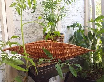 Vintage wicker basket boat shaped, wicker boat, wicker basket long
