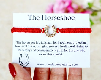 Good luck bracelet Red String Bracelet Bridesmaid bracelet Evil eye bracelet Red Thread Bracelet Horseshoe amulet bridesmaid gift