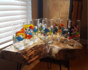 Lot of 8 Vintage 1982 Smurf Glasses Peyo Wallace Berrie & Co.