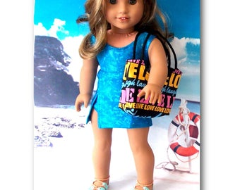 "18"" Doll Clothes. Brilliant Blue Swimsuit, Matching Cover-up Skirt & Canvas  beach bag. (Clothes only, American Girl, Lea not included)"