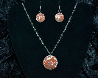 Embossed & Stained Metal Necklace and Earring Set