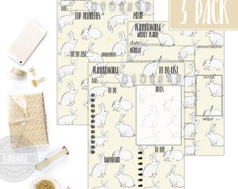 Bunnies Yellow Planner, bunnies planner, printable planner, pastel yellow planner, weekly planner A5, daily planner A5, to do list A5