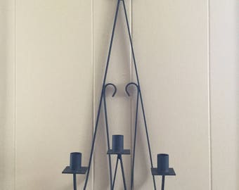 Vintage wrought iron 3 candle sconce black