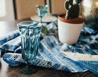 Tall Vintage Old Williamsburg Aquamarine goblet