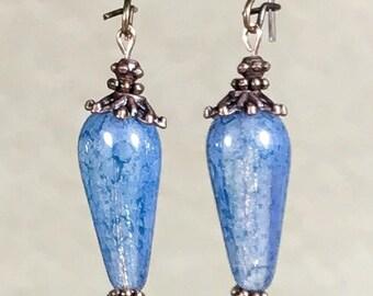 Antique Copper Earrings Blue Teardrop Earrings Bohemian Earrings Czech Glass Earrings Blue Earrings Copper Dangle Earrings