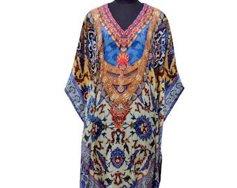 New 100% Silk caftan full length embellished beach cover up dress K67