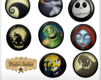 Nightmare Before Christmas Digital Clipart - PNG File - 300 DPI - Printable clip art - Cupcake topper - Card Making - Scrapbook - Cake Deco