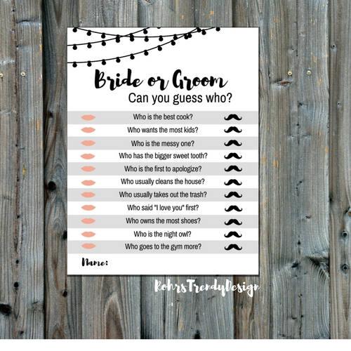 Instant Download Rustic Bridal Shower Game Bride Or Groom