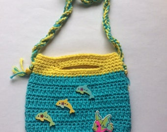 Sweet Deep Blue Sea Crochet Handbag