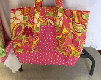 Pink and paisley tote bag