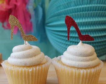 15 Glitter High Heels Cupcake Toppers, High Heel Party Decorations, 30th Party Decorations, 21st Party Decorations,Bachelorette Party