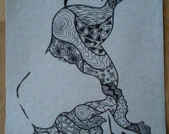 Buffalo Zentangle print