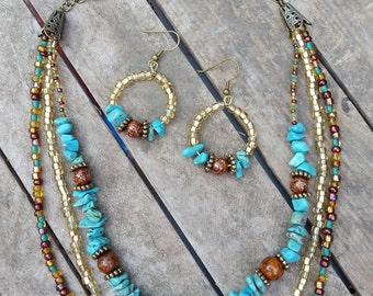 Southwest Style Turquoise Necklace and Earring Set