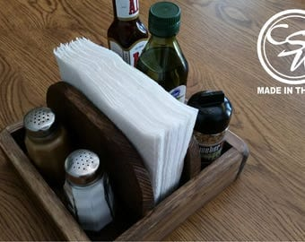 Rustic Napkin Holder/Salt and Pepper/Stake Seasoning, Farm House Kitchen, Wood Napkin Holder, Reclaimed Pallet Wood