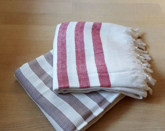 2 set Turkish Towel, Peshtemal Turkish Towel, Beach Towel, Turkish Bath Towel, yoga towel , sarong, beach cover up, bamboo, bridesmaid gift