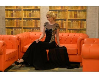 V Neck Black Lace Evening Dress